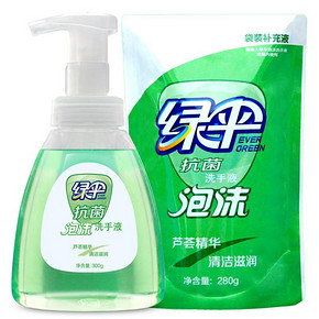 绿伞 抗菌泡沫洗手液 300g+280g 4.9元