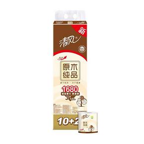 清风 原木纯品卫生纸 3层140g 12卷 19.9元