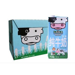 LAIKA 莱爱家 全脂牛奶 1L*12盒 折39元(2件5折)