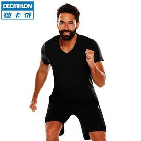 迪卡侬 男士健身棉质黑色V领T恤 19.9元(2件包邮)