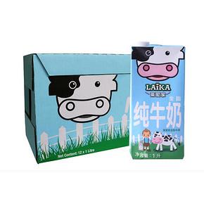 LAIKA 莱爱家 全脂牛奶 1L*12盒 折44.7元(234-100)