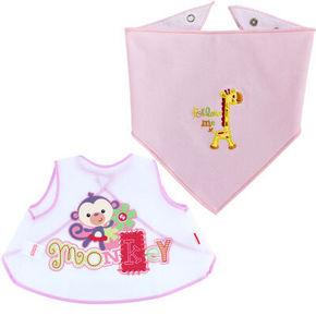 费雪 宝宝免洗围兜+婴儿卡通棉质口水巾2条装 粉色 49.9元