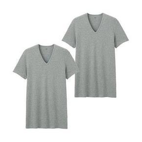 UNIQLO 优衣库 男士V领纯棉短袖T恤 2件装 59元