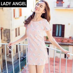 Ladyangel 圆领印花短裙针织短袖连衣裙 39元包邮(49-10券)