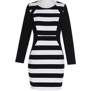 卓多姿 通勤韩版黑白条纹修身长袖连衣裙 59元包邮