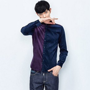 gxg.jeans 男士个性拼接休闲长袖衬衫 129元包邮