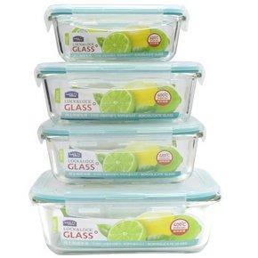乐扣乐扣 格拉斯耐热玻璃保鲜盒4件套 99元包邮