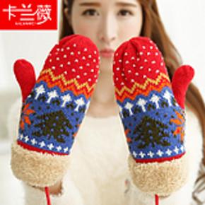 冬季韩版加厚保暖可爱毛线针织手套 券后6.9元包邮