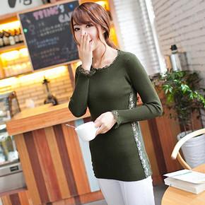秋冬韩版蕾丝领修身打底毛衣 9.9元包邮
