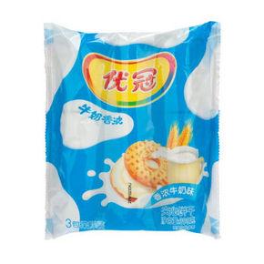 优冠 牛奶特浓夹心饼干 牛奶味 390g 8.1元(2件75折)