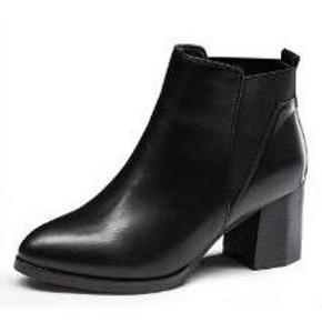 卓诗尼 女士粗跟尖头加绒短筒靴 139元包邮(239-100券)
