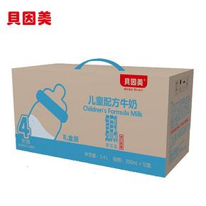 华东# 贝因美 儿童配方牛奶 4段 200mlx12盒 19.9元