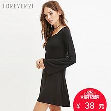 双12预告# Forever21 纯色A字大摆长袖连衣裙 38元