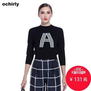 双12预告# ochirly 欧时力 撞色字母宽松短针织衫 131元