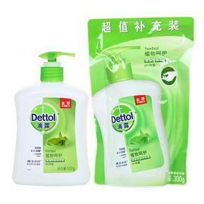 滴露 健康抑菌植物呵护洗手液 500g+300g 折8.5元(16.9,2件5折)