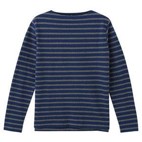 双12提前购物车# MUJI 无印良品 男式棉条纹一字领长袖T恤 83元