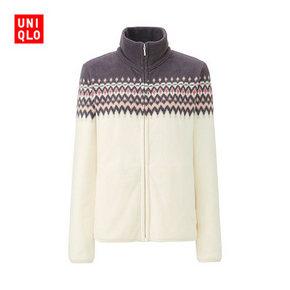 双12提前购物车# UNIQLO 优衣库 女装印花摇粒绒拉链茄克 99元