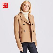 双12提前购物车# UNIQLO 优衣库 女士羊毛混纺双排扣大衣 399元