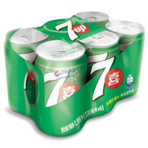 七喜 碳酸饮料 330ml*6听 9.9元