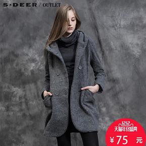 双12预告# sdeer 圣迪奥 双排扣带帽百搭修身保暖呢大衣 75元