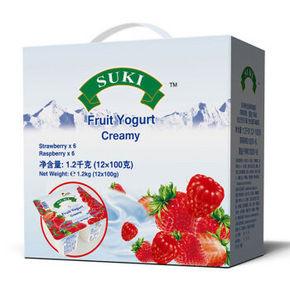 德国 进口酸奶 多美鲜 草莓/覆盆子果粒全脂酸奶 100g*12礼盒 39.8元
