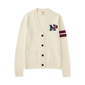 双12提前购物车# UNIQLO 优衣库 女士羊仔毛混纺V领开衫 99元