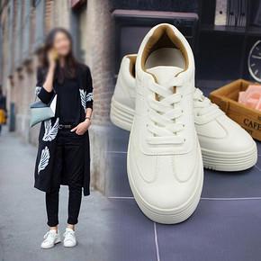迈凯路 秋季女士松糕底系带小白鞋 券后49元包邮