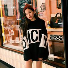 珂莎 明星同款韩版撞色字母拼接套头毛衣 89元包邮(129-40券)