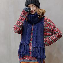 溢彩 韩版粗毛线麻花针织围巾 29元包邮(59-30券)