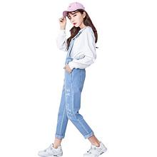 娜娜日记 学生宽松背带裤牛仔裤 99元包邮