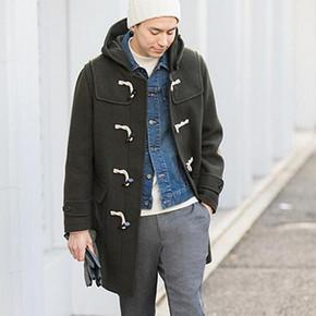 仅剩XL码# 优衣库 男士羊毛混纺休闲大衣 299元包邮