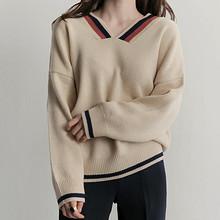 ANNIE 韩版深V领宽松套头针织衫 59元包邮(99-40券)