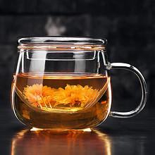 聚千义 玻璃杯加厚带盖过滤透明花茶杯 14.9元包邮(19.9-5券)