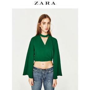 ZARA 女士V领喇叭袖上衣 99元包邮