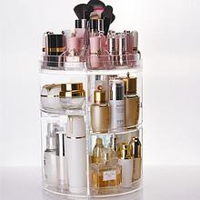 女生必备# 魅时尚 化妆品透明三层旋转置物架 55元包邮(85-30券)