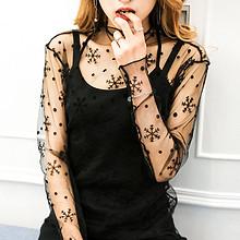 时尚百搭# 品彩 透气网纱打底衫 2件 29.9元包邮(79.9-39.9-10券)