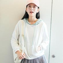 宽松BF风# 猫娘志 女式纯色连帽卫衣 69元包邮(79-10券)