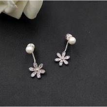 纯银防过敏# 轻奢范 珍珠花朵后挂式耳钉 15.8元包邮