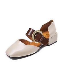 休闲潮流风# 卓诗尼 粗跟包头套脚单鞋 129元包邮(189-60券)