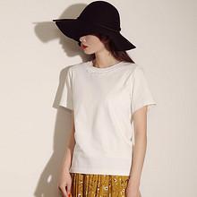 蕾丝衣领# 百武西 女生纯色圆领短袖T恤 39元包邮(79-40券)