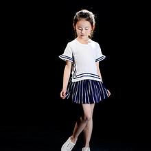 玩美从速 女童学院风棉麻短袖T恤+条纹裙裤套装 39元包邮(59-20券)