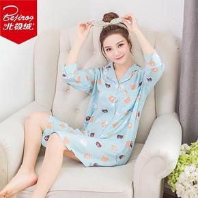 北极绒 女士 夏季 七分短袖睡裙 29.8元包邮(39.8-10券)