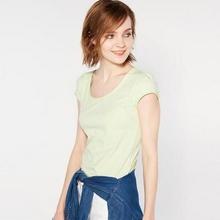 最美风景# Cache Cache 女士纯色嫩绿短袖T恤 15.9元包邮