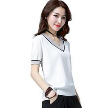 前10分钟半价# 夏季清凉冰丝短袖V领女T恤 17点抢 39.5元(79返39.5)