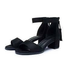 商场同款# 大东 中跟粗跟流苏一字带罗马女鞋  49元包邮(59-10券)