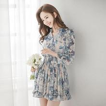 时尚潮流# 韩版显瘦印花雪纺长袖连衣裙  79元包邮(99-20券)
