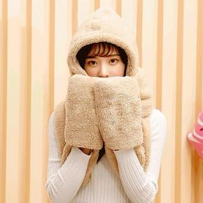 萌萌过冬# 帽子围巾手套三件套双层加厚一体帽 19.9元包邮(29.9-10券)