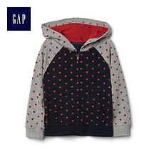 双11预售# Gap 盖璞 女婴幼童爱心图案连帽卫衣  64元(定金15+尾款49)