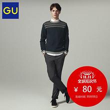 双11提前加购# GU 极优 男士图纹圆领针织衫 80元