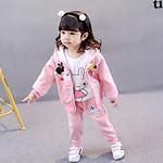 休闲爆款# 跨跨鱼 女童秋季休闲卡通三件套潮装  49元包邮(59-10券)